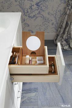 Amazing makeup storage solution for bathroom featuring Kohler Damask vanity