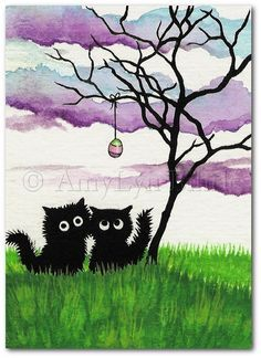 Black Fuzzy Cats Easter Egg Tree FuN  Original ArT by AmyLynBihrle, $35.00