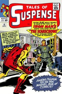 Tales Of Suspense Cover: Scarecrow and Iron Man by Don Heck Marvel Comics Poster - 61 x 91 cm Old Comic Books, Vintage Comic Books, Marvel Comic Books, Comic Book Covers, Vintage Comics, Comic Book Characters, Comic Character, Jack Kirby, Captain America