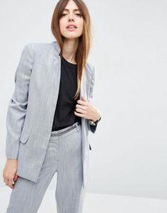 ASOS Premium Edge to Edge Blazer in Linen Look Yarn