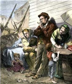 "Irish Immigrant Family on a Summer Evening in the Shantytown     Almshouses were filled with these Irish immigrants. They begged on every street. One honest immigrant wrote home at the height of the potato famine exodus, ""My master is a great tyrant, he treats me as badly as if I was a common Irishman."" The writer further added, ""Our position in America is one of shame and poverty."" No group was considered lower than an Irishman in America during the 1850s."