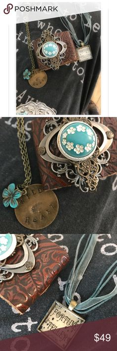 "Set of 3 Gypsy Boho Jewelry Bundle nwot Handmade leather embossed  cuff with adjustable snaps and vintage antique pin on 2- toned metal ornate plate. The button as you can see in pictures has a little yellowing on side, but it's still pretty beautiful. Handmade fortune teller necklace on ribbon made by me. Handmade by me stamped wild heart with painted turquoise patina flower in 20"" chain.  All one of a kind. Jewelry Bracelets"