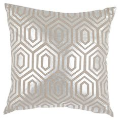 Bring a touch of shimmer to your sofa or favorite arm chair with this chic linen pillow, showcasing a honeycomb motif in silver.  Product...
