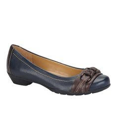 Take a look at this Navy & Chocolate Posie Ballet Flat by Softspots on #zulily today!