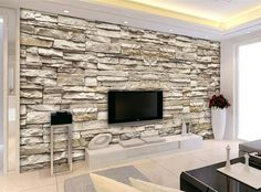 Effect Brick Stone Wallpaper For Interior Designs - Modern Living Room Living Room Tv, Living Room Modern, Living Room Designs, Brick Wallpaper Living Room, Stone Wall Living Room, Tv Wall Design, House Design, Stone Wall Design, Tv Wanddekor