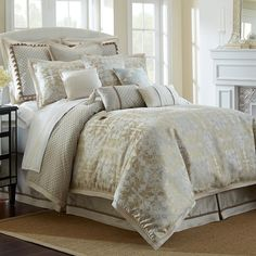 Waterford Reversible Olivette Comforter Sets - Comforters: Down & Alternative - Bed & Bath - Macy's Elegant Comforter Sets, Cheap Bedding Sets, King Comforter Sets, Queen Comforter Sets, Luxury Bedding Sets, Affordable Bedding, Modern Bedding, Gray Comforter, Child Room