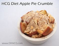 "Apple Pie on the HCG Diet??? I think, yes! Check out this recipe for ""HCG Apple Pie Crumble"" for Phase 2 of the HCG Diet. www.diyhcg.com"
