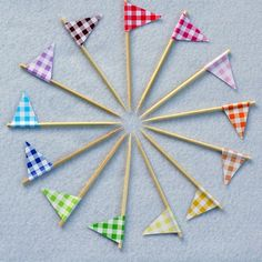 Gingham Cupcake Flags