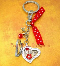 FLOATING CHARM MEMORY Locket Key Chain Nurse by BeasBuzzDesigns