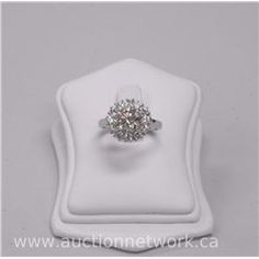 Ladies 18kt White Gold Diamond Custom Ring with 1 Round Brilliant Cut Diamond (2.25cts) and 12 Round
