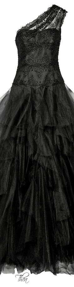 Marchesa ● FW 2014, Embellished lace and tulle gown