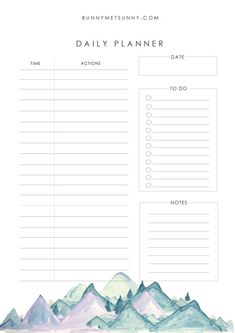 Mountain Theme 1 - Planner Pages 2019 - Bunny Met Sunny Happy Planner Cover, Daily Planner Pages, Weekly Planner Printable, Study Planner, Free Planner, Daily Schedule Printable, Daily Planners, Printable Calendars, Monthly Planner