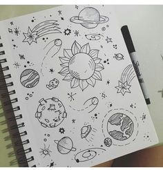 nessa 👼🏼's drawings 📖 images from the web Space Drawings, Cool Art Drawings, Pencil Art Drawings, Art Drawings Sketches, Doodle Drawings, Easy Drawings, Cute Drawings Tumblr, Planet Drawing, Doodle Art Journals