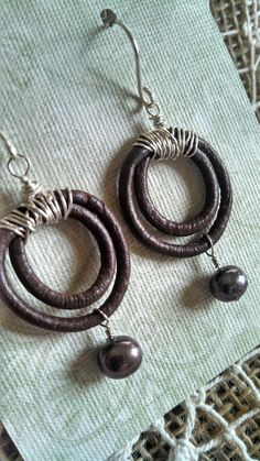 Simple Leather and Pearl HoopStyle Earrings by BossyBeads on Etsy