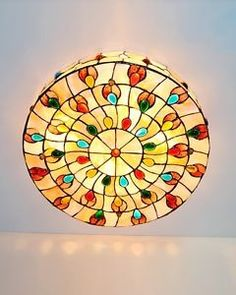 Details about Parrotuncle Red Peacock Tiffany Drum Flush Mount Ceiling Light  Kitchen Lighting