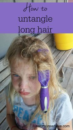 how to untangle long hair- tips and tricks gleaned over 35 years of having long hair myself! Long Hair Tips, Long Wavy Hair, Natural Hairstyles For Kids, Little Girl Hairstyles, Girl Haircuts, Messy Hairstyles, Hair Maintenance Tips, Curly Hair Styles, Natural Hair Styles