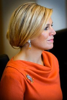 Dutch Queen Maxima hair details during their visits at the royal palace in Oslo, Norway, 02 .10.13.