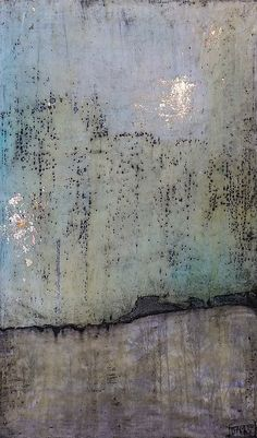 "Dawn Nielson | Whisp of Thought | encaustic, gesso, ink, metallic leaf, photo copy, oil paint on wood, 13""x22"""