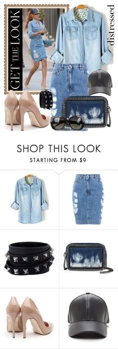 """distressed denim skirt"" by teto000 ❤ liked on Polyvore featuring Moschino, Valentino, STELLA McCARTNEY, Rupert Sanderson, Bottega Veneta and distresseddenim"