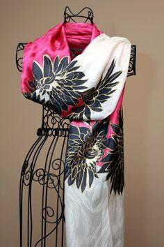 Hand Painted Silk Jacquard Shawl with Black by adornbychristine, $200.00