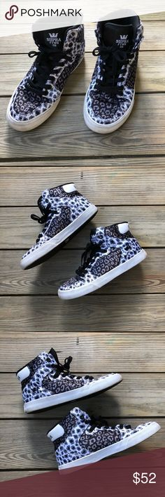 cb98be741a Women s Supra Vaider Cheetah High Tops Women s Supra Vaider Cheetah High  Tops Size 8 Great condition Thanks for shopping my closet Supra Shoes  Sneakers