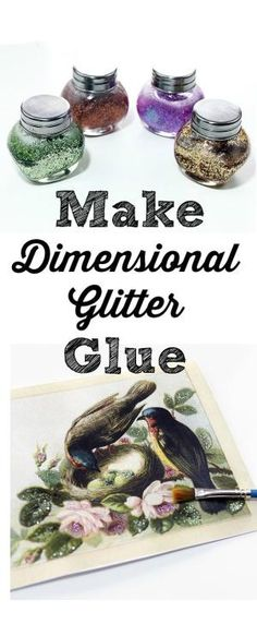Make Dimensional Glitter Glue. Graphics Fairy. Make your own crafts supplies with this easy recipe! Such a fun technique for paper crafts and DIY decorating projects! by rosebud2