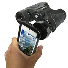 ThinkGeek :: Binocular Adapter For iPhone 5  I do this all the time to take wildlife photos. :) It's a shame that they don't have these for Samsung phones.