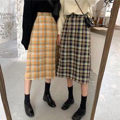 Buy Plaid Vintage Aesthetic High Waist Long Skirt korean style Cheap Trendy Aesthetic Clothes and Long Skirt Fashion, Long Skirt Outfits, Korean Fashion Dress, Korean Outfits, Modest Fashion, Long Skirts, Korean Style Dress, Midi Skirts, Skirt Ootd
