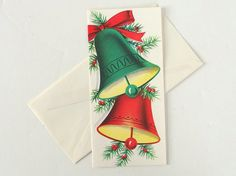Vintage Red and Green Bells Christmas Card  by BythewaysideXmas