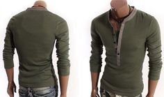 Men Long Sleeve Slim Basic T Shirts with Button Placket