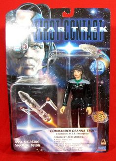 """Lot 65: KENNER 1996 STAR TREK FIRST CONTACT """"COMMANDER DEANNA TROI"""" COUNSELOR / U.S.S. ENTERPRISE - MOVIE EDITION ACTION FIGURE - FACTORY SEALED / NEVER OPENED!! - Kidferlife Collectables Auctions 