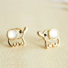 Cute White Baby Elephant Earrings Studs These are adorable, I apologise for the huge amount of pins.