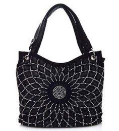 Silver Studded Flower Black Fashion Bag - Handbags, Bling & More!