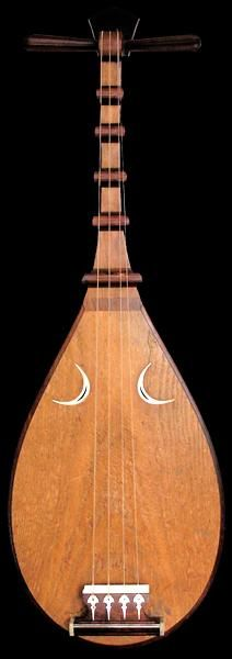 The Biwa is a Japanese short-necked fretted lute, often used in narrative storytelling. The biwa is the chosen instrument of Benton, the goddess of music, eloquence, poetry and learning in Japanese Shinto.