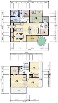 間取り 40坪 4LDK Craftsman Floor Plans, House Floor Plans, Building Plans, Building A House, Japanese Apartment, Apartment Layout, Passive House, House Blueprints, Japanese House