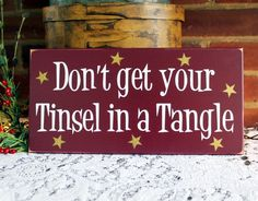 Tinsel in a Tangle Christmas Wall Sign Wood Painted Funny Holiday Sign Saying…