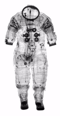 "very cool: An x-ray of Alan Shepard's Apollo 14 spacesuit allows curators and conservators to ""see"" inside space clothing—a task that had previously been done by peering through the neck or the wrist with a flashlight."