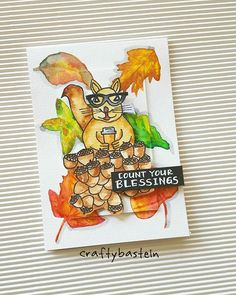 When squirrel counts his blessings. 👍😄😄😄 #fall2016clh . . #diy #cardmaking #kartengestaltung #carterie #handmadecard #painting #drawing #zeichnung #peindre #watercolor #aquarelle #vangoghwatercolor #handlettering #illustration #fall  #autumnblessings #squirrel #eichhörnchen #écureuil #coffee #art #papercrafts #basteln #bricolage #craftybasteln