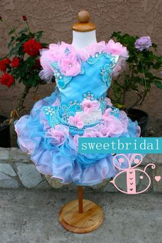 Free Shipping Lovely Blue Flower Sleeveless Beaded Organza Taffeta Ball Gown Mini Girl Pageant Dress Lace Up US $119.95