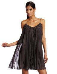 HALSTON HERITAGE Women's Spaghetti Tie Strap Pleated Dress