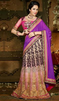 G3 Fashions Pink Purple Georgette Net Wedding Wear Designer Lehenga Sarees  Product Code : G3-LS13254 Price : INR RS 5280