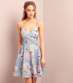 Light Grey V Neck Floral Print Skater Dress | New Look