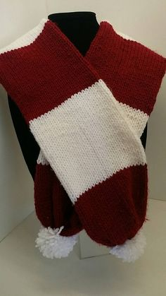 Where's Waldo Inspired Scarf  Tube Scarf Red and White by XOXOknit