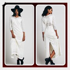 """Gorgeous Free People Ivory Maxi Dress Gorgeous bohemian party dress by Free People, 100% cotton Ivory features beautiful mesh panels and embroidery detailing throughout, 3/4 sleeves,button back closure, back split, fully lined...dress it up or down with boots and a jacket..length:58.5"""" bust:31"""" waist:28"""" Free People Dresses Maxi"""