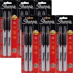 Sharpie 32701 Retractable Fine Point Permanent Markers Black Pack of 12