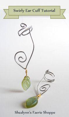 DIY Schmuck Shealynn's Faerie Shoppe: Swirly Ear Cuff Tutorial Discovering The Beauty Of Landscape P Ear Cuff Tutorial, Diy Earrings Tutorial, Diy Tutorial, Ear Jewelry, Jewelry Crafts, Handmade Jewelry, Jewelry Making, Vintage Jewelry, Diy Schmuck