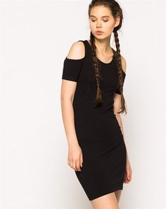 Only Siyah Omuzları Pencereli Skinny Mini Elbise :: battal sepet 29.99 TL (KDV dahil)