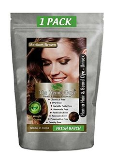 The Henna Guys Henna Hair and Beard Color/Dye, Medium Brown * Find out @