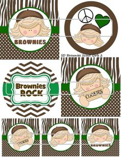 DIY Printable Brownies Scout Girls 2 Shrinky Dinks by MaddieZee, $1.25