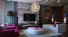 Comfortable Purple Living Room Design Ideas: Purple teal slate living room